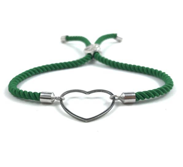 Ezüst szíves zöld sodrott zsinór karkötő