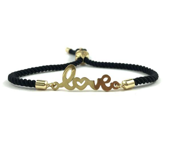 Arany LOVE feliratú fekete sodrott zsinór karkötő