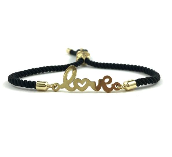 Gold LOVE balck bracelet