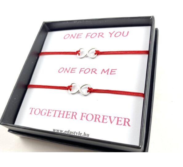 Végtelen jeles testvér karkötő piros ( One for you, One for me )