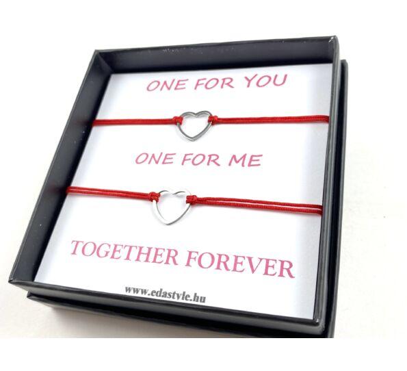 Ezüst szíves testvér karkötő piros ( One for you, One for me )