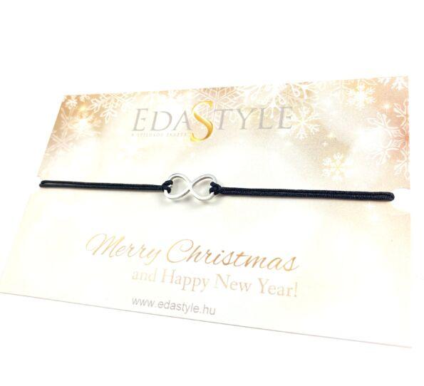 Karácsonyi végtelen jeles fekete zsineg karkötő