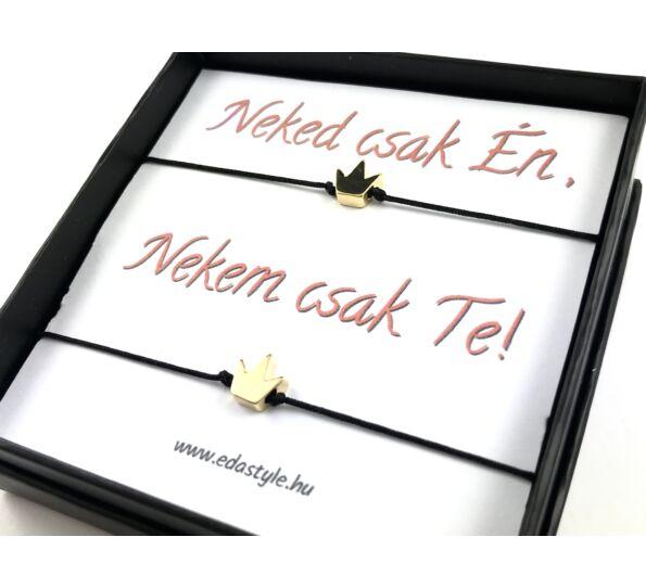 Arany acél korona medálos páros zsineg karkötő ( Neked csak Én, Nekem csak Te! )