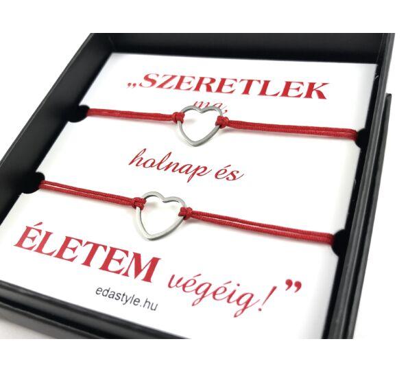 Love bracelets with silver heart