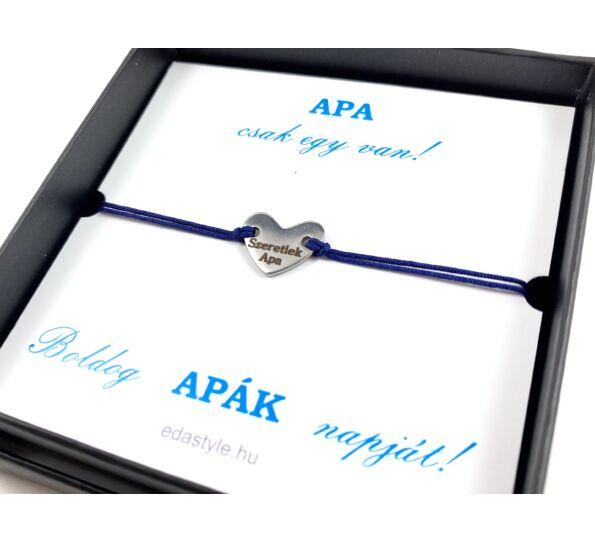 Szeretlek APA kék zsineg karkötő díszdobozzal