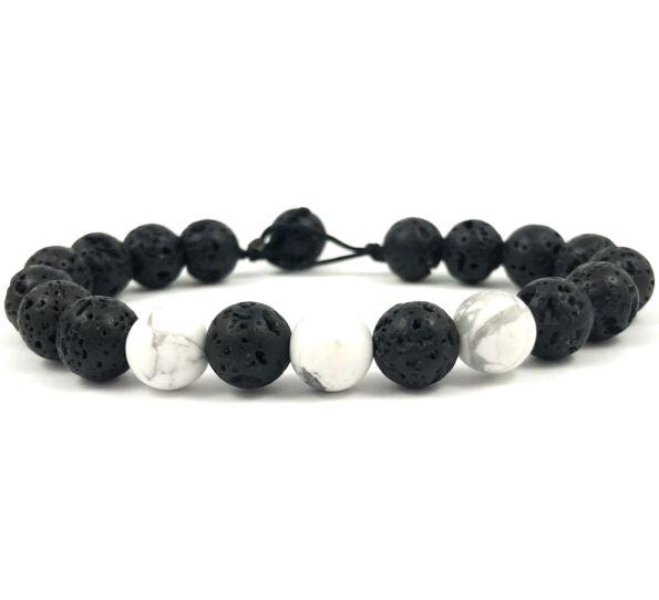 Matte onyx and howlite beach bracelet