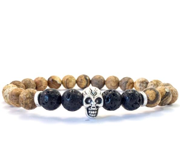 Jaspis and lava skull bracelet