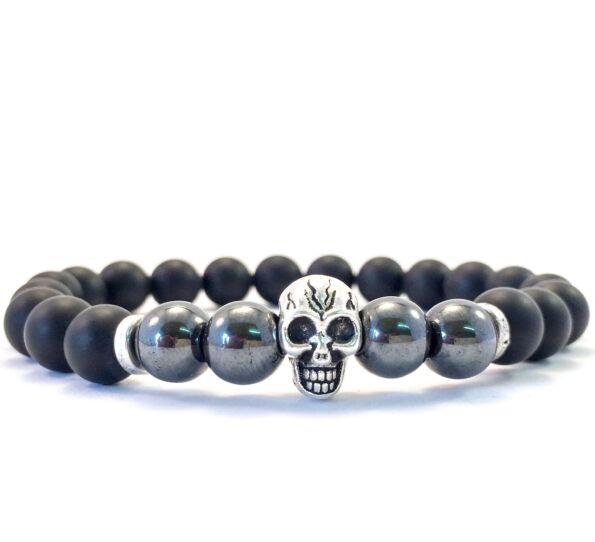 Onyx and hematite skull bracelet