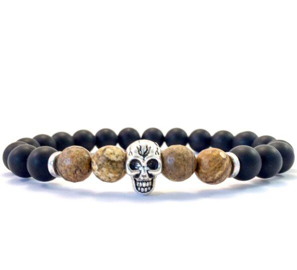 Matte onyx and jaspis skull bracelet