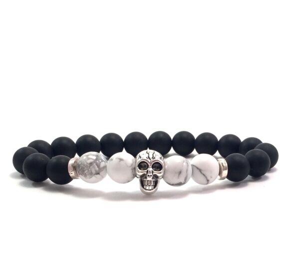 Matte onyx and howlite skull bracelet