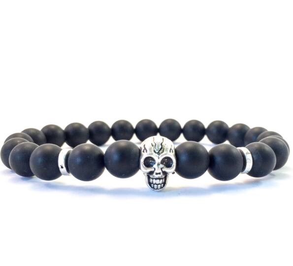 Matte onyx skull bracelet