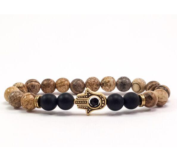 Jasper and matte onyx gold hamsa bracelet