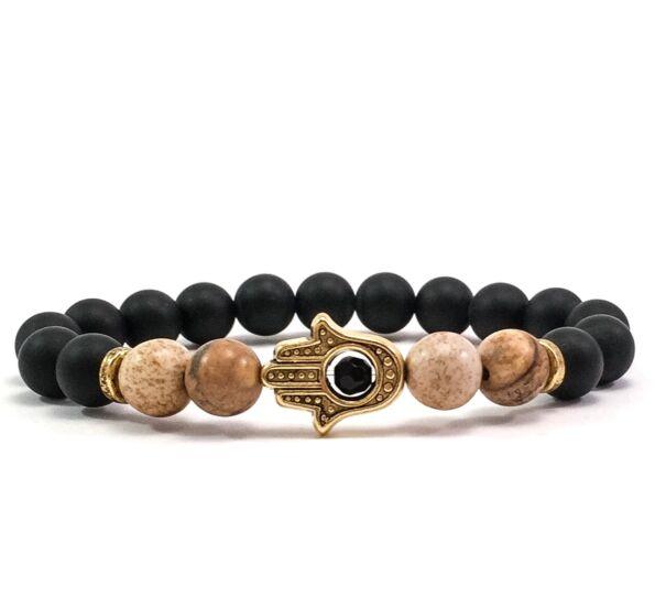 Matte onyx and jasper gold  hamsa bracelet