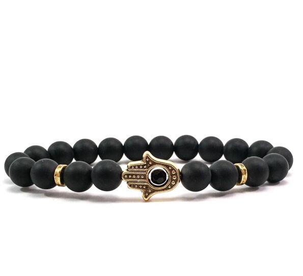 Matte onyx gold hamsa bracelet