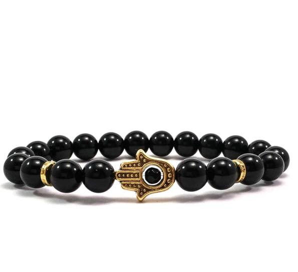 Onyx gold hamsa bracelet