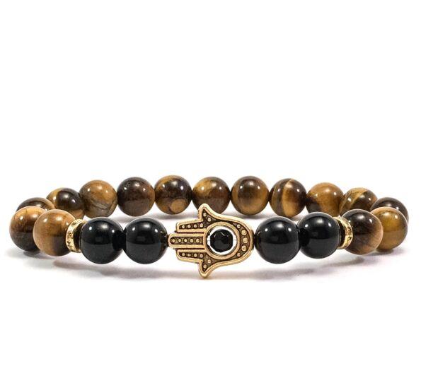 Tiger's eye and onyx gold hamsa bracelet