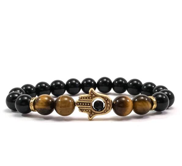 Onyx and tiger's eye gold hamsa bracelet
