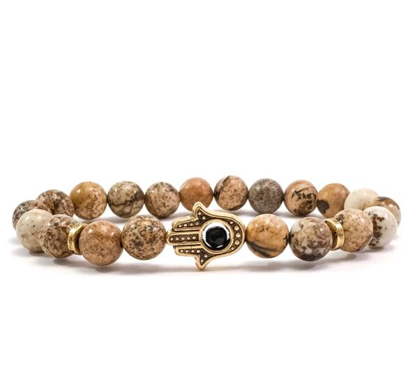 Jasper gold hamsa bracelet