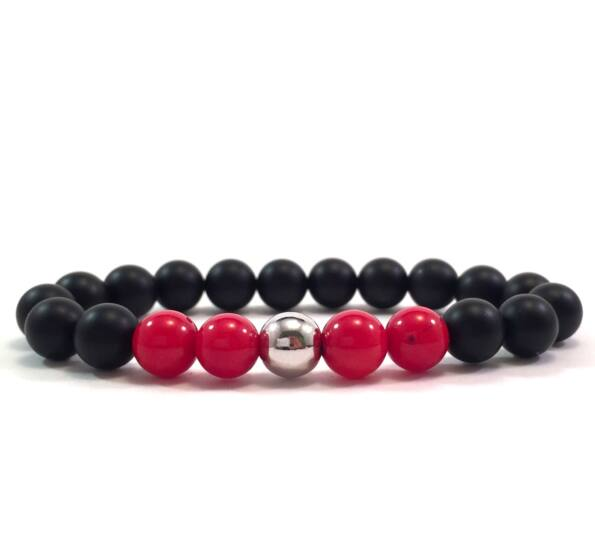 Matte onyx and coral silver pearl bracelet