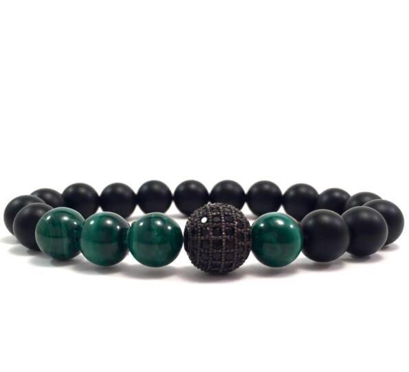 Malachite and matte onyx black zircon ball beaded bracelet