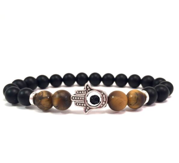 Matte onyx and tiger's eye silver hamsa bracelet