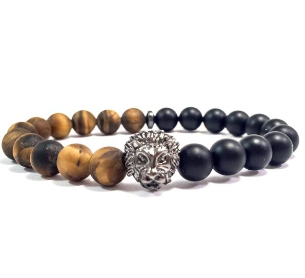 Hematite half lion bracelet