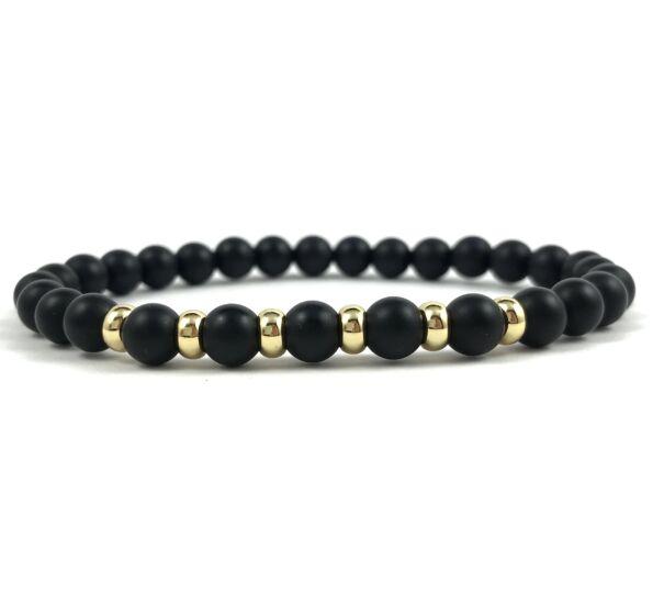 Matte onyx gold bracelet