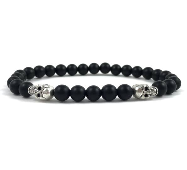 Matte onyx silver bracelet