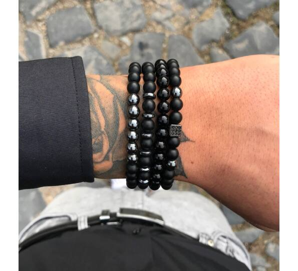 Matte onyx and hematite bracelet