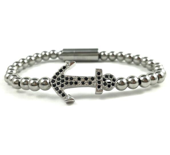 Silver steel anchor bracelet