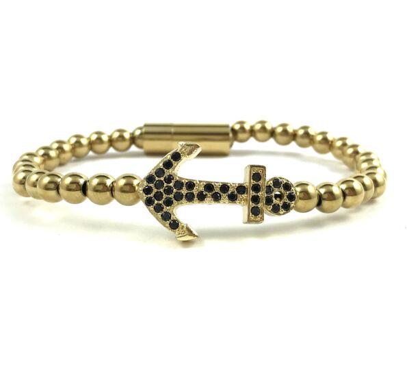 Gold steel anchor bracelet