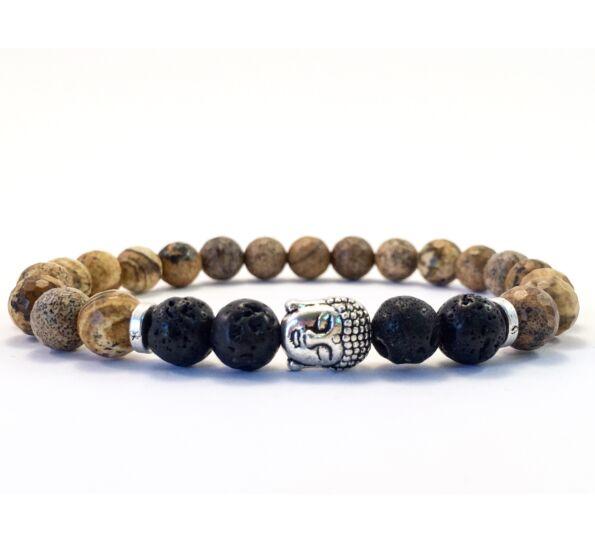 Jaspis and lava buddha bracelet