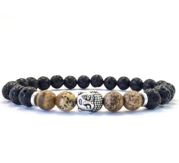Lava and jaspis buddha bracelet