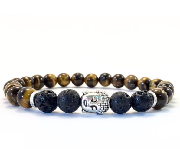 Tigereye and lava buddha bracelet