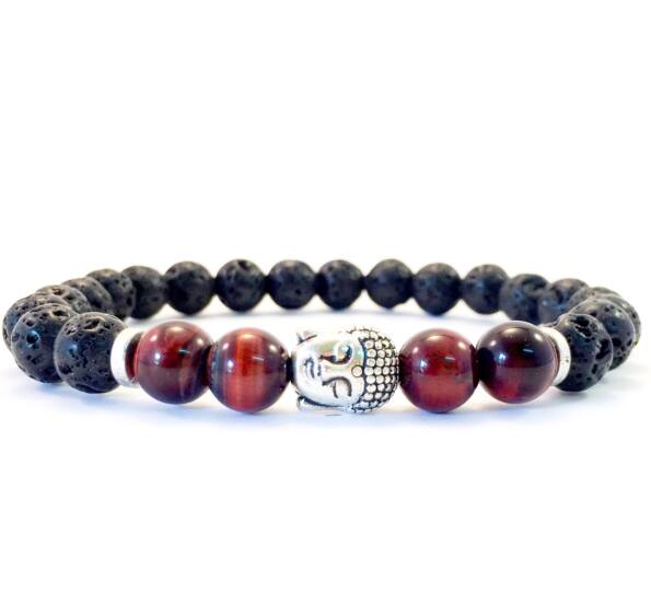 Lava and Cat's Eye  buddha bracelet