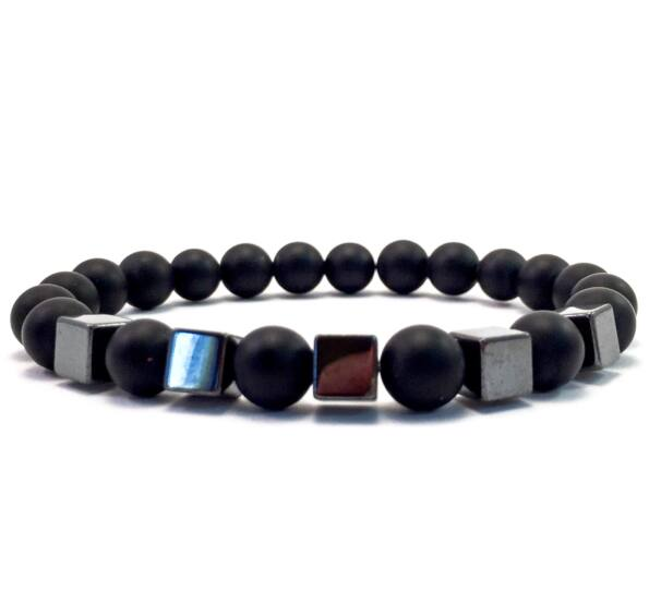 Matte onyx hematite cube bracelet