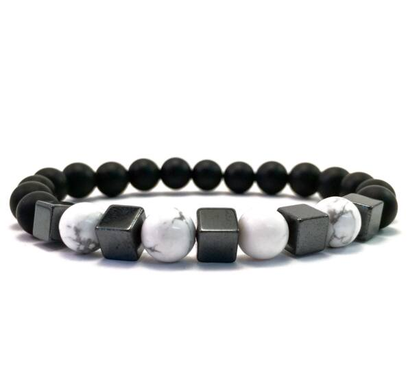 Matte onyx and howlite hematite cube bracelet