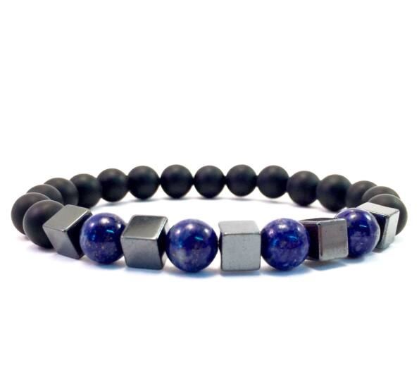 Matte onyx and lazuli hematite cube bracelet