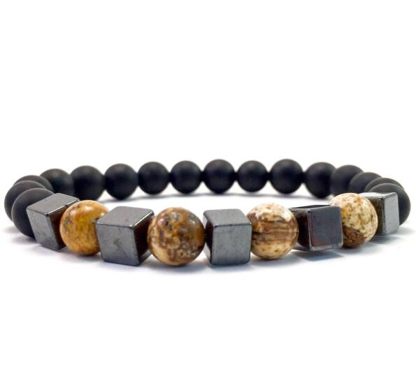 Matte onyx and jasper hematite cube bracelet