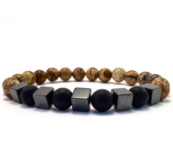 Jasper and matte onyx hematite cube bracelet
