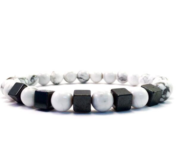Howlite hematite cube bracelet