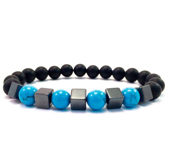 Matteonyx and turquoise hematite cube bracelet