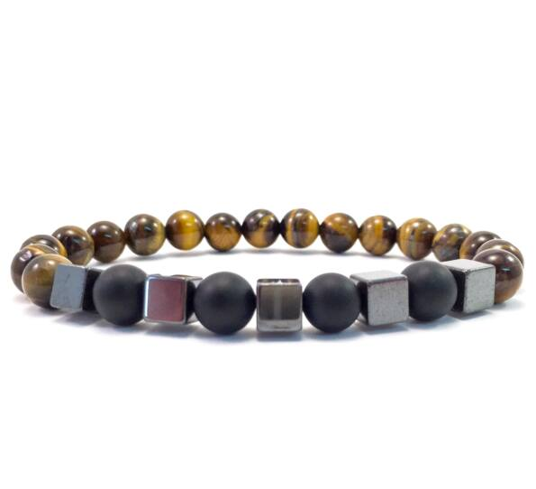 Tiger's eye and matte onyx hematite cube bracelet