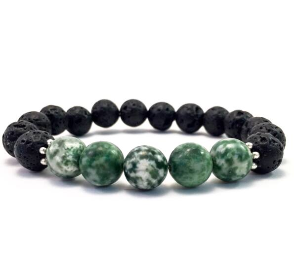 Lava and jade 10mm bracelet FF