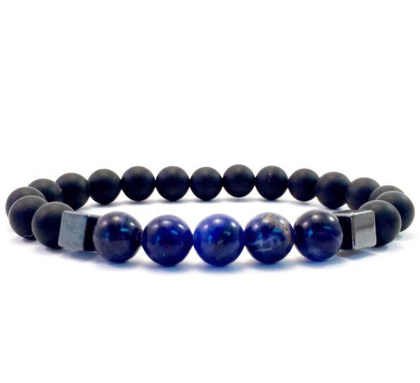 Matte onyx and sodalite hematite 2 cube bracelet