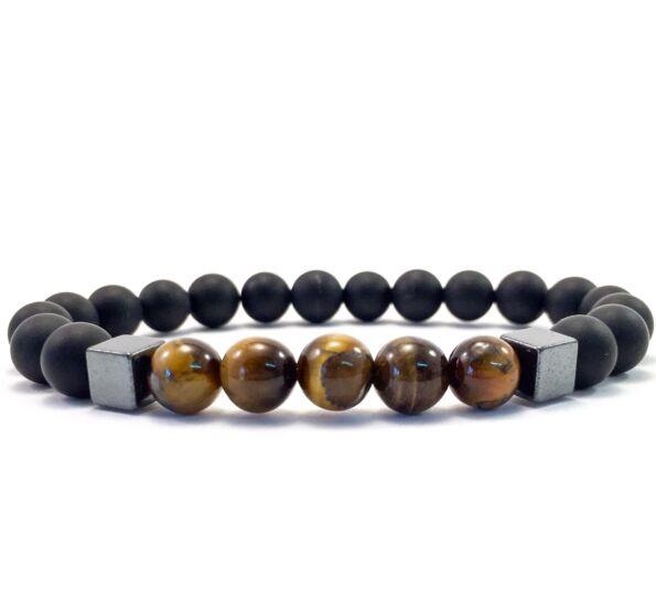 Matte onyx and tiger's eye hematite 2 cube bracelet