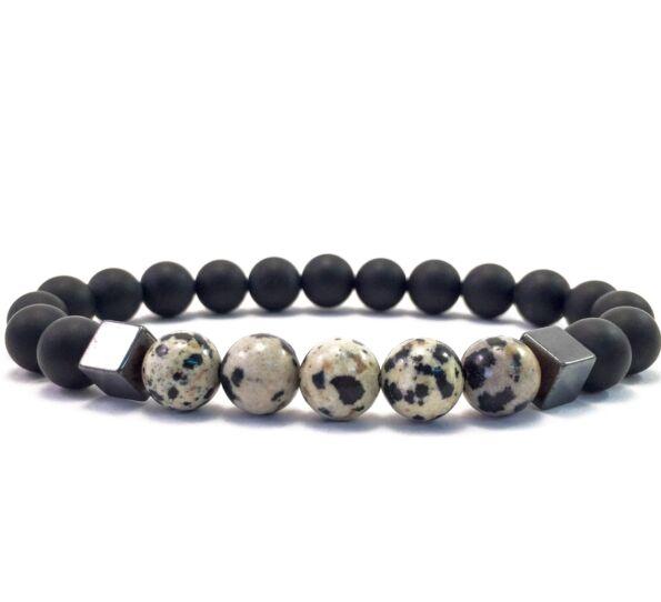 Matte onyx and dalmatians hematite 2 cube bracelet
