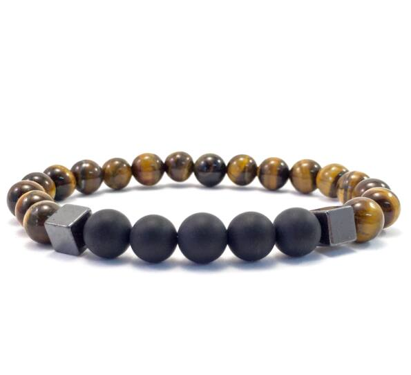 Tiger's eye and matte onyx hematite 2 cube bracelet