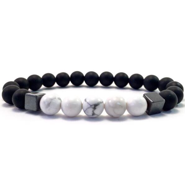 Matte onyx and howlite hematite 2 cube bracelet