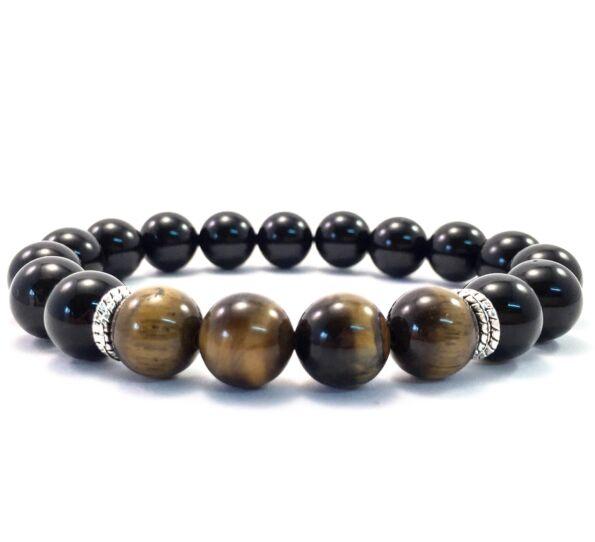 Onyx and tiger's eye 10mm bracelet FF